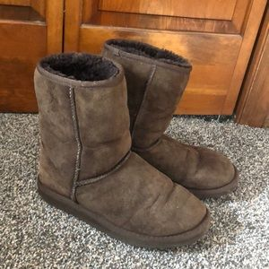 Chocolate brown class short ugg boots! Size w6